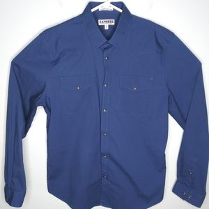 Express Fitted Long Sleeve Pearl Snap Shirt